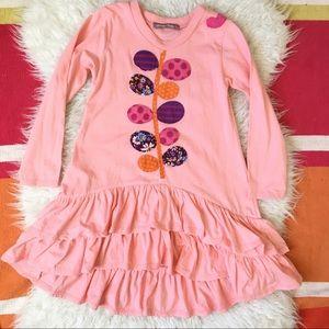 Jelly The Pug Pastel Peach Appliqué Ruffle dress 6